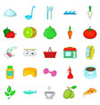food for training icons set cartoon style vector image vector image