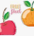 fruit pixel cartoons vector image vector image