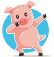 funny dabbing pig cartoon vector image vector image