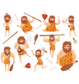 funny stone age prehistoric man in different vector image vector image