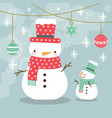 greeting card christmas card with a snowman vector image
