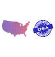 halftone gradient map of usa and grunge seal vector image vector image