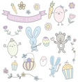 happy easter hand drawn cute pastel set vector image vector image