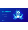 isometric bitcoin bit cryptocurrency mining farm vector image vector image