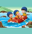 kids on boat vector image