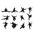 kungfu warrior sword stick style silhouette asian vector image
