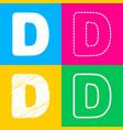 letter d sign design template element four styles vector image