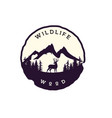 mountain wildlife wood with deer silhouette logo vector image