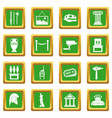 museum icons set green vector image vector image