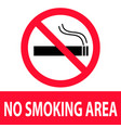 no smoking area icon on white background flat vector image vector image