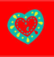 patterned heart on a red background vector image vector image