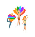 people with rainbow flags and symbols lgbt vector image vector image