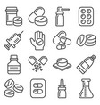 pills and capsules icons set on white background vector image vector image