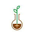 plant sprout in a flask line style symbol nature vector image vector image