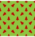 Red Christmas tree on a green background vector image vector image