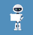 robot stands with empty paper vector image vector image