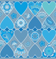 seamless floral patchwork pattern with hearts and vector image
