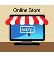 shopping online in computer vector image vector image