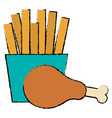 thigh chicken meat with french fries vector image