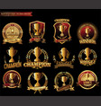 trophy retro golden badges collection vector image