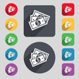 Us dollar icon sign A set of 12 colored buttons vector image vector image