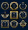 vintage monograms set of i letter vector image vector image