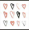 hand drawn set of hearts design elements fot vector image