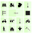14 field icons vector image vector image