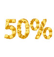 50 percent price cut off golden discount coins vector image vector image