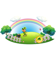 A man with a pot of gold coins inside the fence vector image vector image