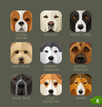 animal faces for app icons-dogs set 5 vector image vector image