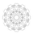 black and white circular round cute loving mandala vector image vector image