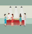 buffet dinner dining food celebration party vector image vector image