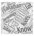 canadian genealogy Word Cloud Concept vector image vector image