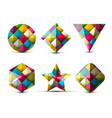 colorful 3d geometric shapes isolated on white vector image vector image