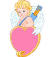cupid with bow and arrow holds heard vector image vector image