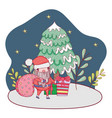 Cute christmas santa claus with bag in the