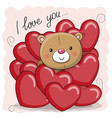 cute teddy bear in hearts vector image vector image