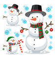 different snowman on white template vector image