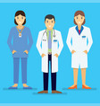 doctors and other hospital staff stand together vector image vector image