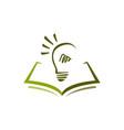 education logo design a book and idea bulb vector image