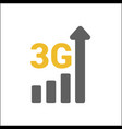 flat 3g logo with mobile signal strength indicator vector image