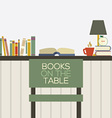 Flat Design Books On Table vector image vector image