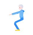 flat elderly man in sportsuit squat vector image vector image