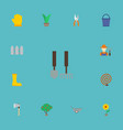 flat icons fence plant garden hose and other vector image vector image