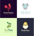 Fresh farm logos set labels for business vector image vector image
