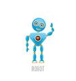 funny cartoon blue robot character vector image