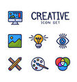hand drawn creativity graphic and web design line vector image vector image