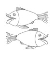 Hand drawn fishes on white background vector image
