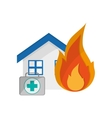 house and first aid kit icon vector image